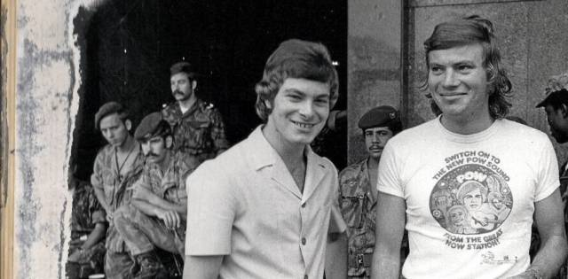Nick Megens (right) with fellow LM Radio DJ John Novik shortly after the Radio Palace siege was lifted in 1974.